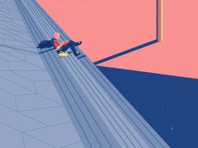 Man on the stairs composition experiment character graphic illustration