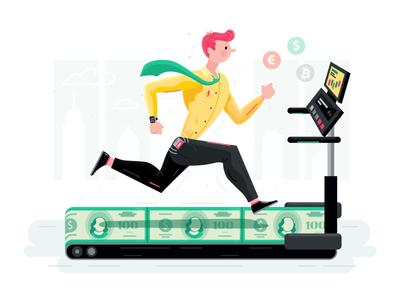Endless Running sport money illustration graphics running man character fun business fireart studio