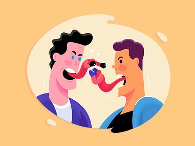 Verbal Battle metaphor communication illustration graphics fun studio fireart characters