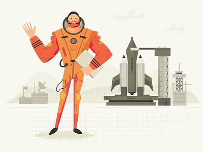 Project Launch astronaut character fireart studio fun graphics illustration designer project launch metaphor