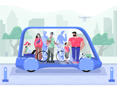 Transport of the future fireart studio transport city future scene vector elon mask characters technology graphics illustration