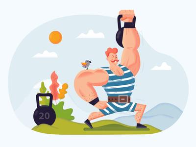 Strongman healthy fun athlete scene vector sport character graphics illustration