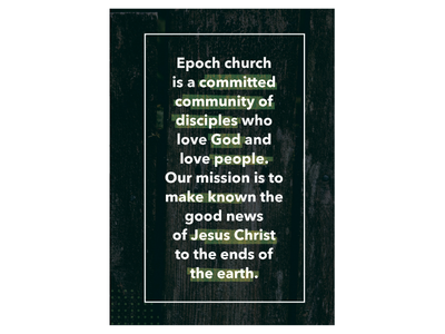 Epoch Church Brochure 2 mission statement page text layout brochure church