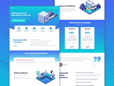 Data Recovery Landing Page trending popular contact illustration testimonial pricing page landing data