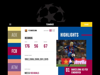 TeamBase V1 front end ux ui personal side project club football club ronaldo messi barcelona soccer football champions league