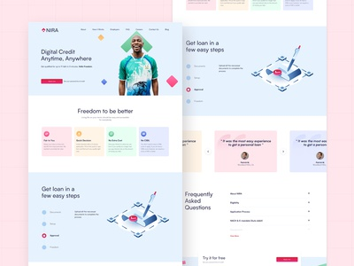 Nira Redesign - Concept Series styleguide design trend simple colorful interaction bank finance credit invision illustration testimonials cards web website side project branding popular ux ui