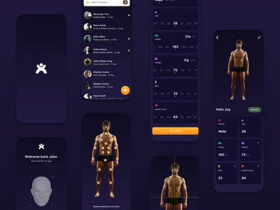 Health App - AI web design website interaction dark app dark ui height weight medical app invision artificial intelligence ai health mobile app typography branding popular ux ui