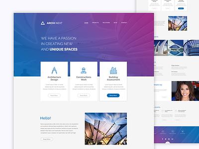Archi Next website (FREE WordPress and PSD) landing page architect real estate building minimal design clean design website