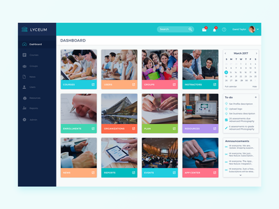Lyceum - Online Training Dashboard admin learning education online training dashboard