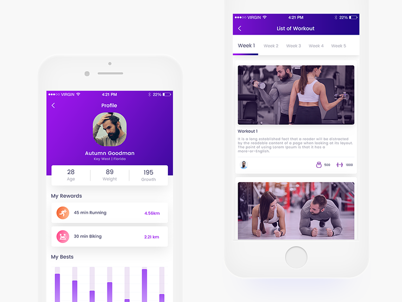 Profile screen for Fitness App fitness app apps ioevent iphone mobile purple profile social interface s