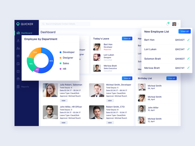 Quicker HR Magement System Dashboard by Shahin Srowar🚀 for