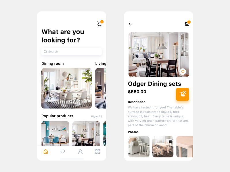 E-commerce App Interface for Furniture branding clean minimal furniture ui technology sketch shop sell modern mobile iphone ios fashion ecommerce e-commerce c2c b2c app