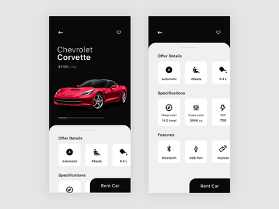 Rent A Car App Exploration vehicle ux ui rental notch mobile minimal iphone x clean carsharing car app apple