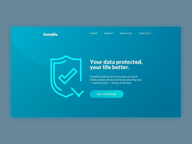 DailyUI #003 /// Landing Page dailyui blue lock data security landing page