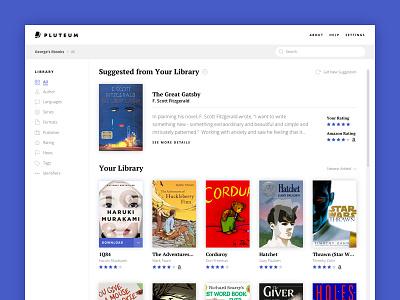 Pluteum - eBook Library Browsing Interface - WIP web app ui minimal library interface flat ebook clean calibre app