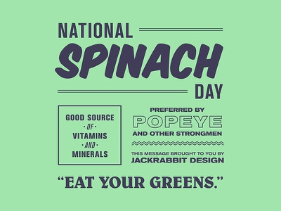 National Spinach Day Typography march 26 holiday purple green retro signage vintage typography poster spinach