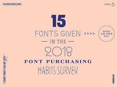 MyFonts 2018 Font Purchasing Habits Survey Typography typography fonts purple pink myfonts thunderdome bsds