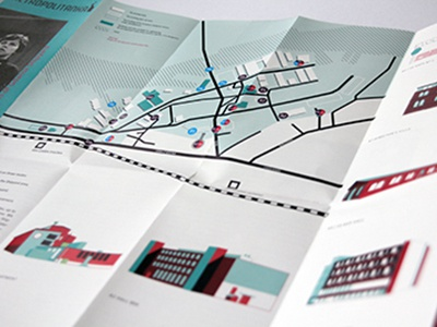 Metropolitanka Flyer Map map flyer vector icon illustration building