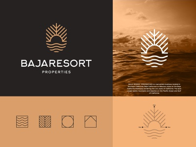 Baja Resort Properties creative icon symbol mark grid lineart minimalist vector illustration premium luxury real estate resort baja typogaphy logotype logos logo design brand identity branding adobe illustrator adobe