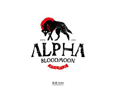 Alpha Blood Moon Studio logo concept monogram vintage minimal typography minimalist logo illustration creative vector adobe illustrator icon symbol mark adobe alpha animal wolf logodesign brand identity branding logo design logo