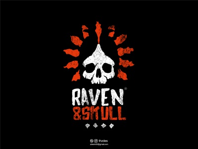 Raven & Skull vintage icon symbol mark design logotype vector minimal skull raven creative clean illustration logo designer logo design logos logo brand and identity brand identity branding adobe illustrator adobe