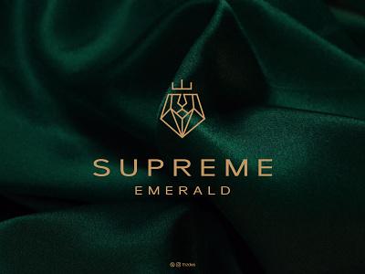 Supreme Emerald negative space icon symbol mark clean luxury minimal jewelry emerald lion typography minimalist logo logos logotype design brand identity branding logo designer logo design logo adobe illustrator adobe