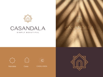 Casandala botanical simple illustration typography design house vector mandala clean icon symbol mark creative minimal brand identity branding logo designer logo design logos logo adobe illustrator adobe