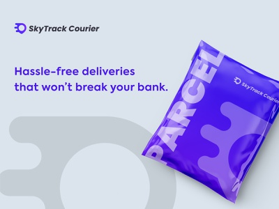 Skytrack courier packaging Design adobe illustrator typography design branding vector icon minimalist modern speed delivery service courier parcel