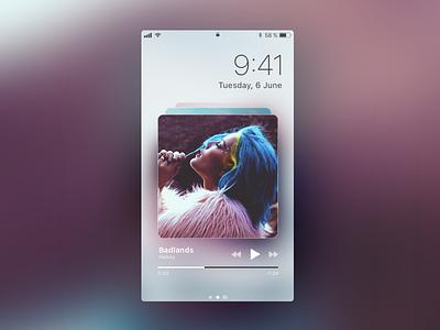 iOS 11 Lock Screen art cover shadow blur player music iphone ios 11 ux ui app ios