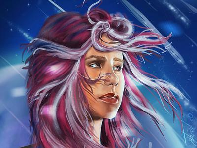 Meteor shower girl fantasy digitalart digital wacom photoshop illustration girl shower meteor