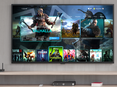 Sony PlayStation 5 UI concept gaming games game assasinscreed product design tv home modern design figma ps5 playstation5 playstation 5 playstation concept user interface ui sony