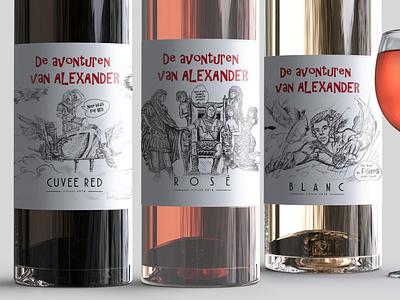 De avonturen van Alexander wine label design photoshop illustration bottle wine label bottle label mockup packaging wine alexander alexander the great