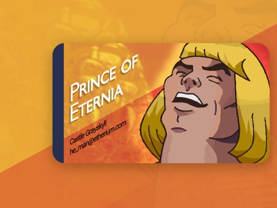 Business Card for a Superhero - Dribbble Weekly Warm Up business card he-man prince adam