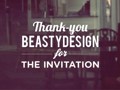 Thanks Beasty! beastydesign crystalpulse vintage sign typography thanks invite invitation lobster gotham bebas rounded photo type