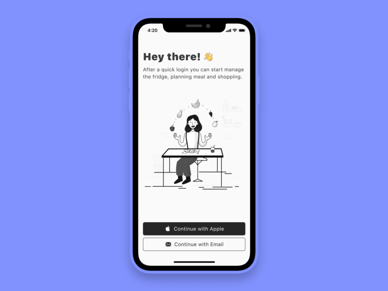 Onboarding screen simple clean interface monochromatic login welcome page welcome screen sign in food sign up onboarding clean ui app illustration mobile app ios minimal figma ux ui minimalistic design