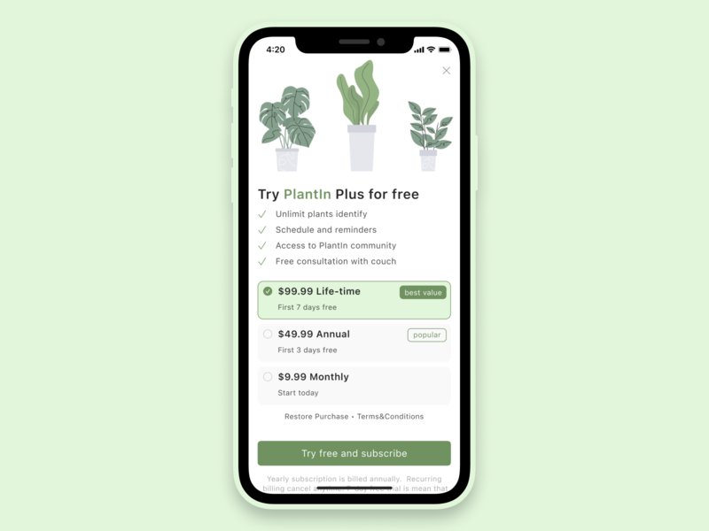 Paywall screen value proposition values buy button subscriptions ios minimal design figma minimalistic terms and conditions product cards green plants subscribe form screen paywall payment subscription subscribe