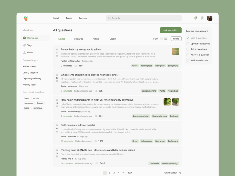 Community platform page side menu cards ui clean ui design minimalistic ui ux webpage design tags desktop design community forum minimal figma web design website