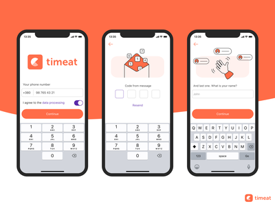 Timeat App. Sign up time waiter food pre-order restaurant booking order logo minimalistic ux ui log in message name phone authorization sign up design ios mobile app