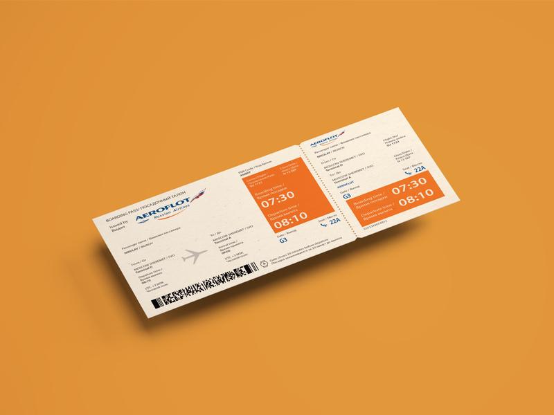 Concept of boarding pass for Aeroflot brand identity branding minimal brand design layoutdesign layout vector print design typography design ticket boarding pass