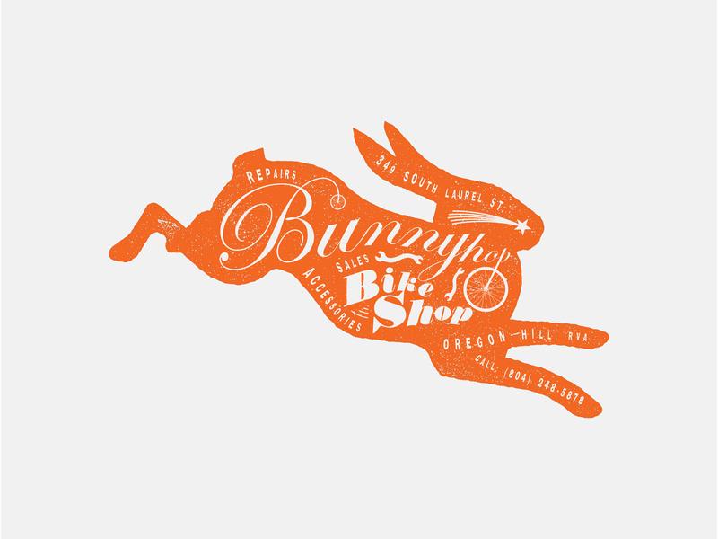 Bunnyhop Bike Shop Logo illustration typography branding logo graphicdesign