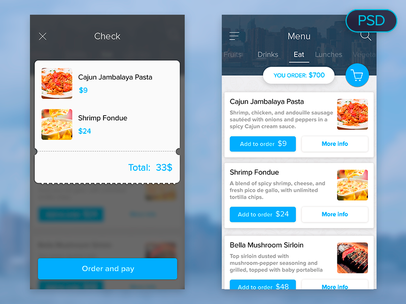 Food menu UI free PSD app food ux ui psd free material design iphone ios
