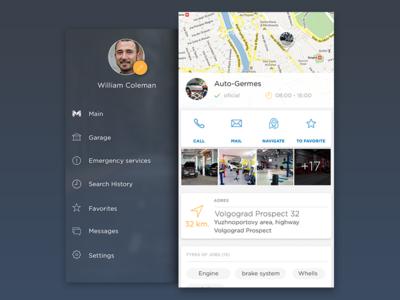 Mechanik side menu and info service stations car profile info navigation menu sidemenu ux ui iphone ios