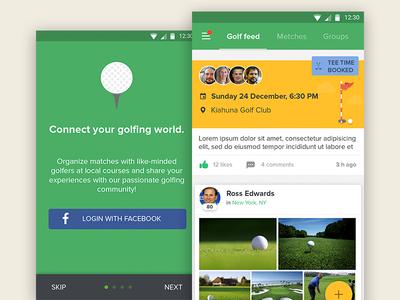 Golf app android material design golf app ui ux feed tutorial cards tabs login