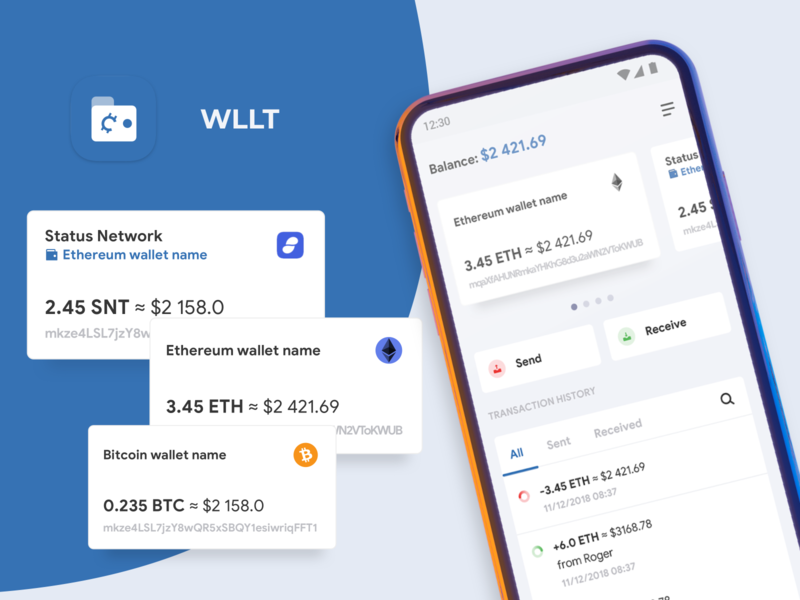 WLLT - Crypto Wallet cards home main bitcoin ethereum crypto wallet app android ux ui