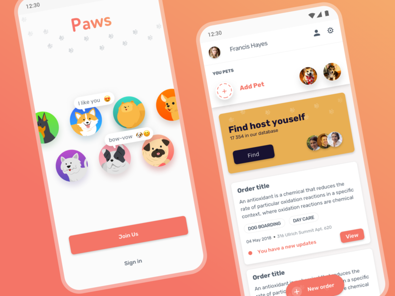 Paws - Find host youself sign in login home paws pets cards app material design android ux ui