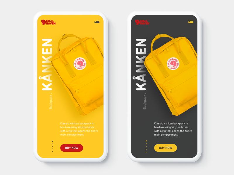 Fjällräven Kånken Backpack Concept light dark gray yellow product shop mobile concept fjallraven kanken backpack