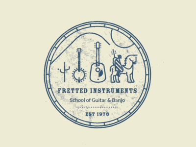 Fretted Instruments halftone cactus hills badge school instruments fretted rider horse guitar banjo