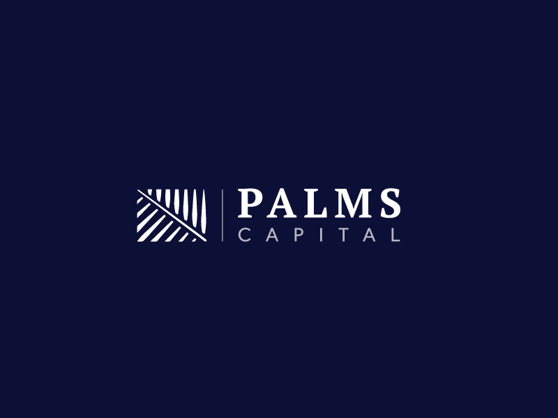 Palms Capital Logo flat vector logo illustrator firm capital palm tree palms finance payment icon transfer growth mark trustworthy client branding brand modern