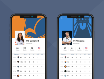 NWSL Player Profile mobile app football soccer mobile skyblue reign seattle nwsl design