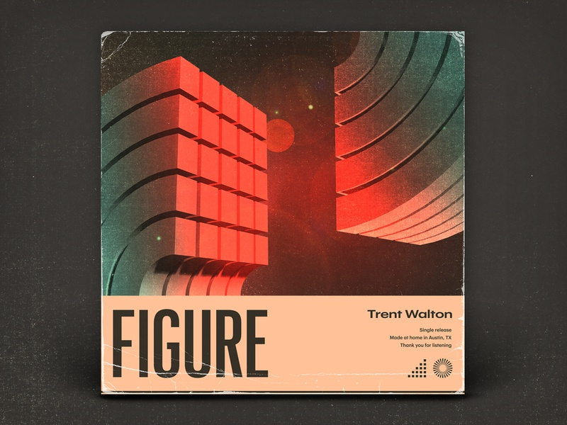 Figure typography texture music illustration album art 3d
